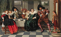 Elegant company at table in an interior - Dirck Hals
