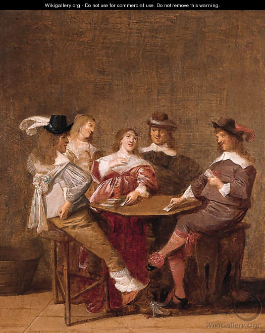 A company at table engaged in a game of cards - Dirck Hals