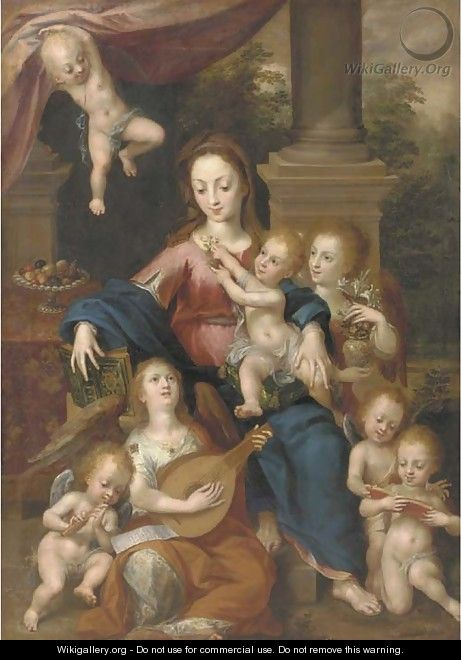 The Virgin and Child with Angels making music - Dirck de Quade Van Ravesteyn