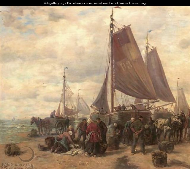 Sorting the catch on the beach of Dunkirk - Desire Thomassin