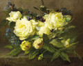 Still life with yellow roses and forget-me-nots - Desire de Keghel