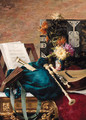 Musical Instruments and a Music Score with Flowers on a Table - Desire de Keghel