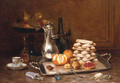 A coffee-pot, a peeled orange, a stack of meringues and a fruit tart on a silver tray - Desire Alfred Magne