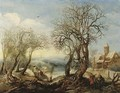An extensive winter river landscape with the Flight into Egypt, a sportsman and his hound, a wood gatherer trundling a wheelbarrow and a peasant woman - Denys Van Alsloot