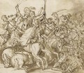 A battle scene - Domenico Campagnola