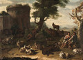 Cows, sheep, and other farm animals resting in a landscape, with a courting couple and a sleeping shepherd, a ruin beyond - Domenico Brandi