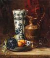 A bowl of oranges and violets with a ewer and a vase - Dominique-Hubert Rozier