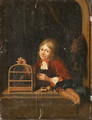 A Boy holding a Birdcage at a Casement - Dutch School