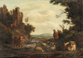 An Italianate river Landscape with a Drover - Dutch School