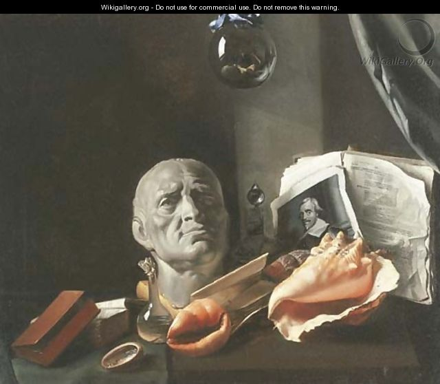 A Vanitas still-life with a bust, seashells, books, and glass flasks - Dutch School