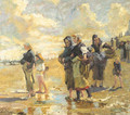 Fisherfolk on the beach - Dutch School