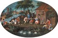 Figures carousing before an inn in a Dutch landscape - Dutch School