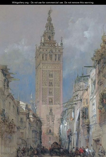 The Moorish tower at Seville, called the Giralda, Spain - David Roberts