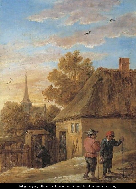 Peasants conversing by a house with a church beyond - David III Teniers