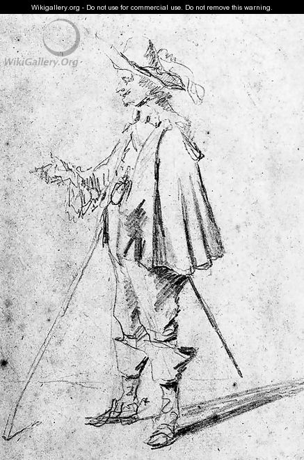 A standing cavalier in profile to the right - David III Teniers