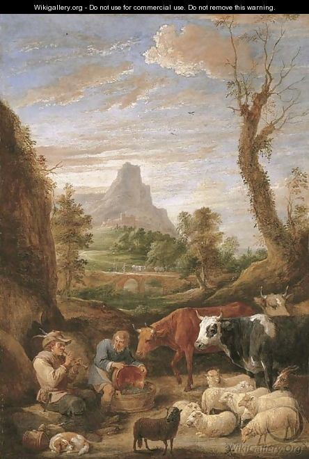A pastoral landscape with a shepherd playing a pipe with cattle and sheep - David III Teniers