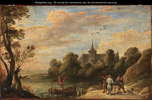 A landscape with peasants by a landing stage and a man in a boat, a church beyond - David III Teniers