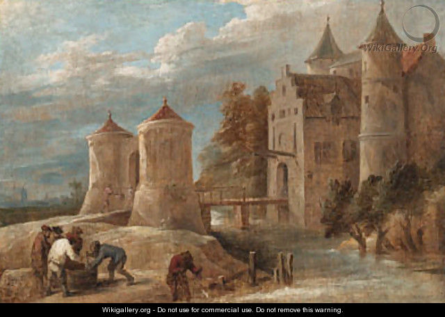 A landscape with fishermen before a castle with a drawbridge - David III Teniers