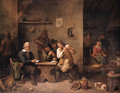 A boor showing his cards to his opponent with onlookers in a tavern, a maid frying pancakes beyond - David III Teniers