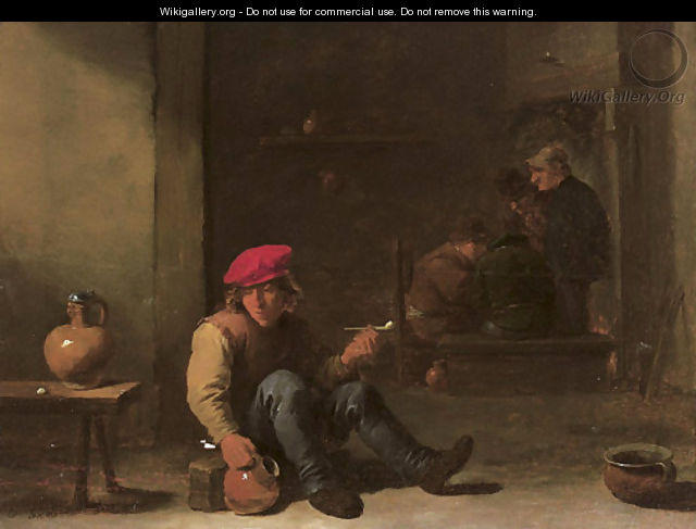 A boor holding a pipe and jug seated in an interior with other peasants conversing in the background - David III Teniers