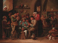 Peasants playing cards in a tavern interior - David The Younger Ryckaert