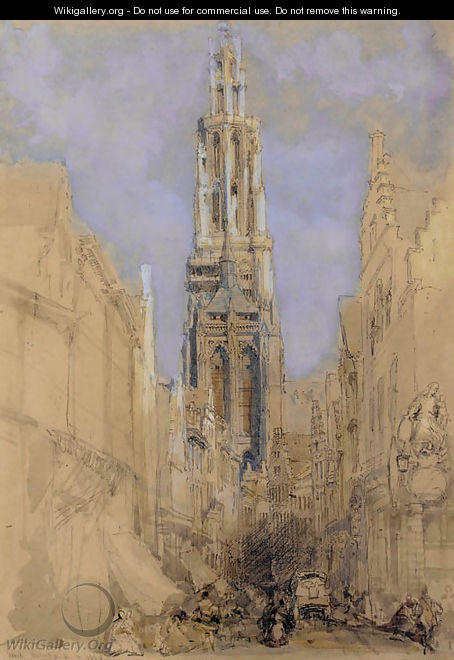 The south front of the tower of Antwerp Cathedral - David Roberts