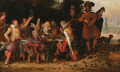 Elegant company feasting, with musicians beneath an arbour, a palace and ornamental garden beyond - David Vinckboons