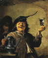 The Sense of Taste A man raising a glass, a man smoking behind - David III Teniers