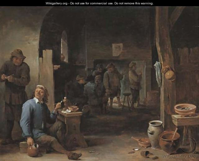 The interior of an inn with peasants smoking by a table and conversing before a fire - David III Teniers