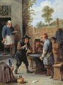 Peasants playing dice outside an inn - David III Teniers