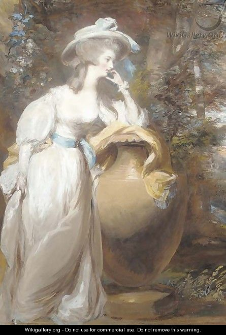 Portrait of Philadelphia de Lancy, in a white dress and sash, leaning on an urn, in a wooded landscape - Daniel Gardner