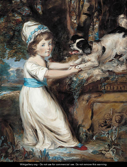 Portrait of Miss Hall, full-length in a white dress with blue trim, playing with a black and white spaniel - Daniel Gardner