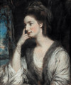 Portrait of Lady Watkin Williams-Wynn, half-length, looking to the left, in a white dress and a fur-trimmed stole - Daniel Gardner