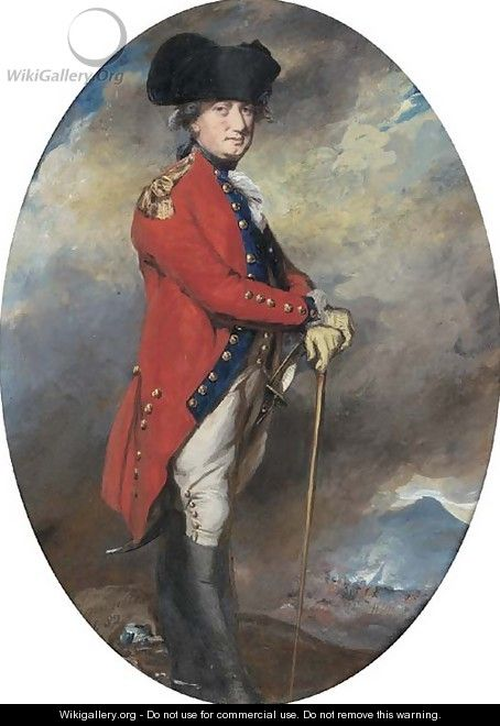 Portrait of Charles, 1st Marquis Cornwallis (1738-1805), small full-length, in uniform, leaning on a cane, in a landscape with a battle beyond - Daniel Gardner