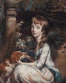 Portrait of a young girl, seated beneath a tree, in a white dress with blue trim, a red and white setter beside her - Daniel Gardner