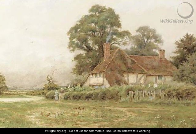Rural cottage with chickens feeding - Curtius Duassut