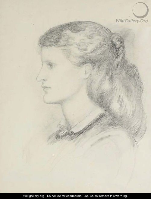 Portrait of Annie Miller, bust-length, in profile to left - Dante Gabriel Rossetti