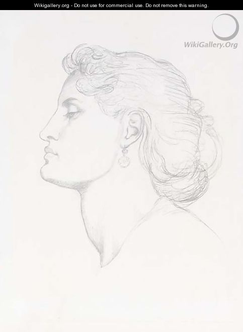 Head of a woman in profile to left - Dante Gabriel Rossetti