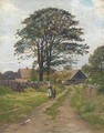 Figures on a beaten track, with a farmhouse beyond - Danish School