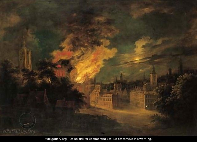 A fire in Brussels at night - Daniel van Heil
