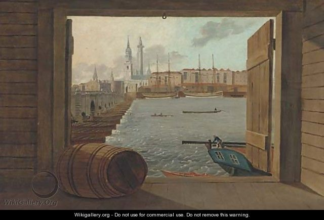 Trading brigs on the Thames before old London Bridge with the Monument beyond - Daniel Turner