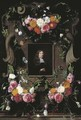 A cartouche surrounded by garlands of roses, thistle, holly and other flowers and butterflies with a later portrait of a gentleman, seated, bust-lengt - Daniel Seghers