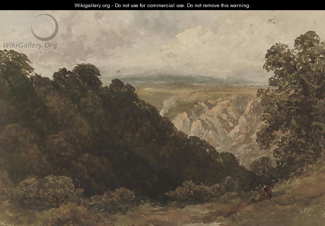 A figure looking over a mountainous landscape - David Cox