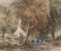 Figures on the banks of a river in a wooded landscape - David Cox