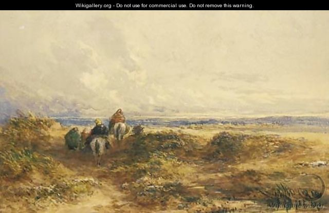 Figures on horseback among the sand dunes - David Cox