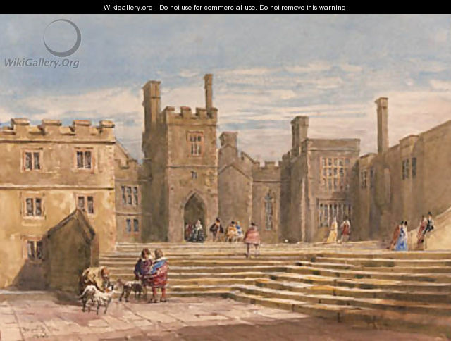 Figures in historical costume before Haddon Hall, Derbyshire - David Cox