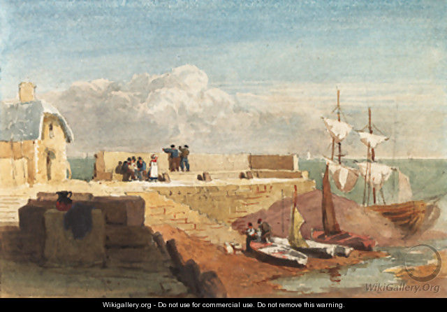 Figures by a harbour wall with boats moored in the foreground - David Cox
