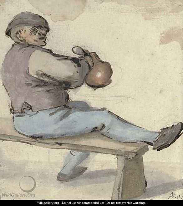 A seated drinker holding an earthenware pot - Cornelis Dusart
