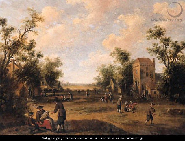 A village street with peasants resting and conversing - Cornelius Droochsloot