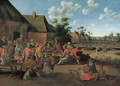 Peasants feasting outside an inn in a village - Cornelius Droochsloot